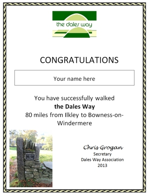 Dales Way Certificate